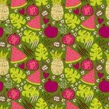 Buntes nahtloses Muster mit Hand gezeichneten exotischen Früchten Stockfotos