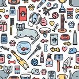 Buntes nahtloses Muster mit Haustieren und Werkzeugen für Haustierpflege, Unterhaltung, pflegend auf weißem Hintergrund vektor abbildung