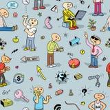 Buntes nahtloses Muster mit lustigen Gekritzel-Leuten Lizenzfreie Stockfotos