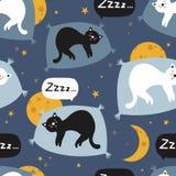 Buntes nahtloses Muster mit Schlafenkatzen, Monde, Sterne lizenzfreie abbildung