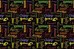 Buntes nahtloses Muster mit Schreiben: köstlich, geschmackvoll, knusperig, knusprig, bitter, sauer, süß, salzig, lecker, frisch Stockbild