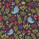 Buntes nahtloses Muster mit Vögeln und Blumen. Stockbild