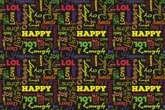 Buntes nahtloses Muster mit Wörtern: glücklich, Freude, Lachen, Lächeln, Glück, Liebe, Spaß, Beifall Vektor Schwarzer Hintergrund lizenzfreie abbildung