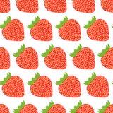 Buntes nahtloses Muster von Erdbeeren Stockbilder