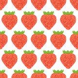 Buntes nahtloses Muster von Erdbeeren Lizenzfreie Stockfotos