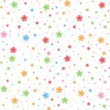 Buntes nahtloses Muster von fallenden Schneeflocken auf einem weißen Hintergrund Einfache flache Vektorillustration Für das Desig Vektor Abbildung