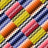 Buntes nahtloses optisches Muster der Vektorzickzack-Zusammenfassung Stockbilder