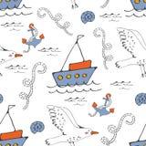 Buntes nahtloses Seemuster mit Seemöwenankern und -booten lizenzfreies stockbild