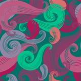 Von Hand gezeichnetes Muster der nahtlosen Welle Stockbild