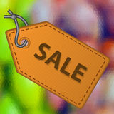 Buntes niedriges polygonales abstraktes Mehrfarbenmuster mit Verkaufsleder wie Tagaufkleber eps10 Stockfotos