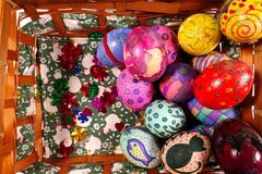 Buntes Ostern Paschal Eggs Celebration Lizenzfreies Stockfoto