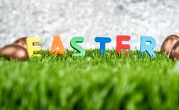 Buntes Ostern-Wort und -kaninchen stempeln auf Eiern auf grünes Gras fie Lizenzfreies Stockbild