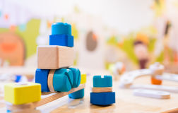 Buntes pädagogisches Technikbau-Blockspielzeug Lizenzfreies Stockfoto