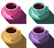 Buntes Plakat der Kaffeetassen Stellen Sie Kaffeetasse-Vektor-Illustrations-Knall-Art Style Vector-Illustration ein Stockfoto