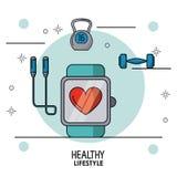 Buntes Plakat des gesunden Lebensstils mit Uhrpulsierenüberwachung in der Nahaufnahme und Dummkopf und des Seilspringens auf die  Stockfotos