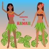 Buntes Plakat mit tropischem Rest, Freizeit auf Hawaii-Inseln, Ferien, Wochenende, Aloha, Mädchentanzen hula, Luau-Parteielemente Stockfoto