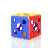 Buntes Plastikspielspielzeug über weißem Hintergrund lizenzfreies stockfoto