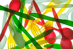 Buntes Plastiktischbesteck Lizenzfreies Stockfoto