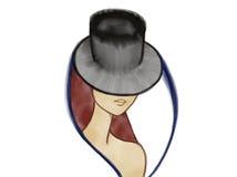 Buntes Porträt einer mysteriösen Dame im Hut Lizenzfreie Stockbilder