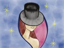 Buntes Porträt einer mysteriösen Dame im Hut gezeichnet durch Acrylfarbe, Bleistift und Aquarell auf dem rosa rosafarbenen Hinter Lizenzfreie Stockfotografie