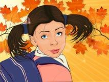 Buntes Porträt eines kleinen Mädchens mit Rucksack stock abbildung