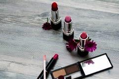 Buntes Pulver der Hautecouture bilden Purpurrotes Make-up und bunte helle Nägel Nahaufnahme von Vogue-Artdamengesicht, abstraktes stockbild
