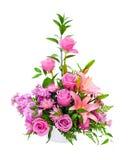 Buntes purpurrotes Blumenanordnungsmittelstück Lizenzfreie Stockbilder