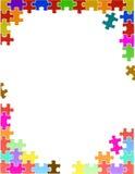 Buntes Puzzlespiel bessert Grenzschablone aus Stockfotos