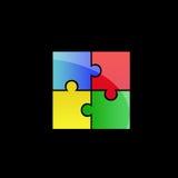 Buntes Puzzlespiellogo Lizenzfreies Stockfoto