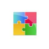Buntes Puzzlespiellogo Stockfoto