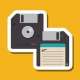 Buntes Retro- Diskettendesign, Vektorillustration Stockbilder