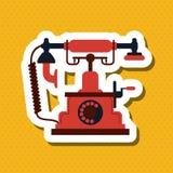 Buntes Retro- Telefondesign, Vektorillustration Lizenzfreie Stockfotos
