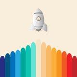 Buntes Rocket-Geschäft beginnen oben Stockfotografie