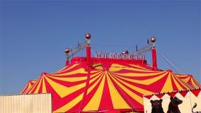 Buntes rotes gelbes magisches Zirkus-Zelt stock video footage