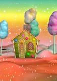 Buntes Süßigkeits-Haus Stockfoto