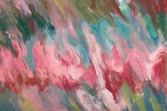 Buntes Segeltuch Abstrakte Gestaltungsarbeit Landschaft mit Fluss und Wald kreatives Grafikdesign Farbbeschaffenheit Kalte Farben Lizenzfreies Stockfoto