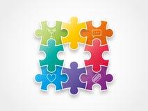Buntes Spektrumregenbogenpuzzlespiel bessert die Formung einer Kreisvektor-Illustrationsgraphik aus, die auf Hintergrund lokalisi Lizenzfreies Stockfoto
