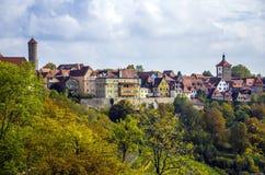 Buntes Stadt-Rothenburg-ob der Tauber, Bayern Stockbilder