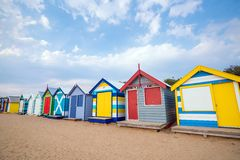 Buntes Strand-Haus bei Brighton Beach, Melbourne stockfoto