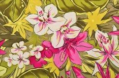 Buntes tropisches Blumenmuster auf Gewebe Lizenzfreies Stockfoto