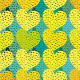 Buntes Valentinsgrußmuster des nahtlosen Vektors mit gelben Herzen lizenzfreie abbildung