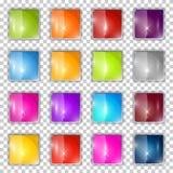 Buntes Vektor-Quadrat-Glasknöpfe eingestellt Lizenzfreie Stockfotos