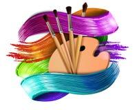 Buntes Vektorkonzept der Ziehwerkzeug-Karikaturelemente Kunstversorgungen: Palette, Bürsten, Aquarellhintergrund Zeichnung lizenzfreies stockfoto
