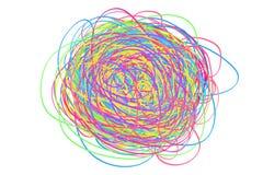 Buntes verwirrt auf Weiß Chaosmuster Gekritzelskizze Heller Hintergrund mit Reihe Linien Verwickelte chaotische Beschaffenheit Ku vektor abbildung