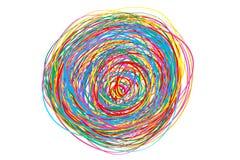 Buntes verwirrt auf Weiß Chaosmuster Gekritzelskizze Heller Hintergrund mit Reihe Linien Verwickelte chaotische Beschaffenheit Ku stock abbildung