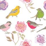 Buntes Vogel- und Blumenmuster Stockbild