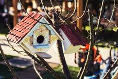 Buntes Vogelhaus unter Baumasten Stockfotos