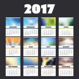 Buntes volles Kalender-Design des Jahr-2017 mit verschiedenen Hintergründen für jeden Monat lizenzfreie abbildung