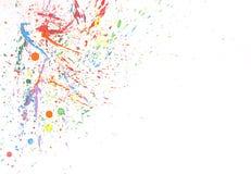 Buntes Wasserfarbspritzen auf weißem Hintergrund Stockfoto