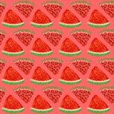 Buntes Wassermelonenmuster mit rotem Hintergrund Lizenzfreies Stockfoto